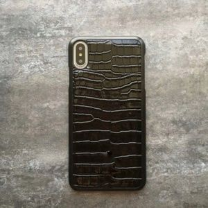 NEW iPhone XS MAX Black Crocodile Gloss Hard Case